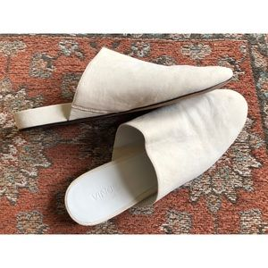VINCE Oren Minimalist White Leather Slides Mules
